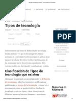 Tipos de Tecnología Que Existen - Clasificación de La Tecnología