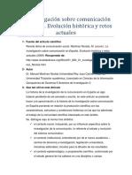 La Investigación Sobre Comunicación en España