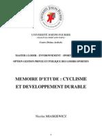 Memoire - Cyclisme Et Developpement Durable - Nicolas Miaskiewicz