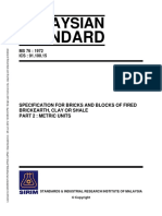 MS 76 1972 Specification for Bricks and Blocks of Fired Brickearth, Clay or Shale Part 2 Metric Units