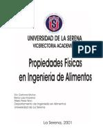 Tablas y Datos de propiedades fisicas de alimentos