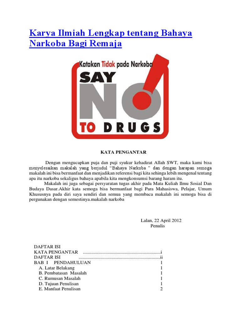 Karya Ilmiah Lengkap Tentang Bahaya Narkoba Bagi Remaja