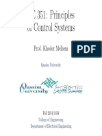 EE 351 Principles of Control Systems Int