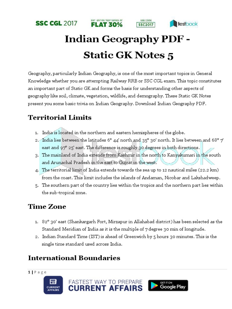 Indian Geography Pdf Static Gk Notes 5 1 Earth Life Sciences