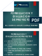 Formulacion y Evaluacion de Proyectos Otono 2016