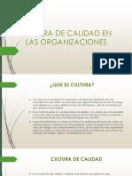 Cultura de Calidad en Las Organizaciones