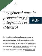 Ley General Para La Prevención y Gestión Integral de Residuos (México) - Wikipedia, La Enciclopedia Libre