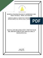 Manual de Organización y Protocolos Del Departamento de Cirugía Oral y Maxilofacial