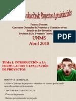 Primera Clase Formulacion y Evaluacion de Proyectos Agroindustriales I 2018