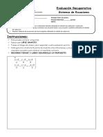Evaluación Recuperativa Sistemas de Ecuaciones