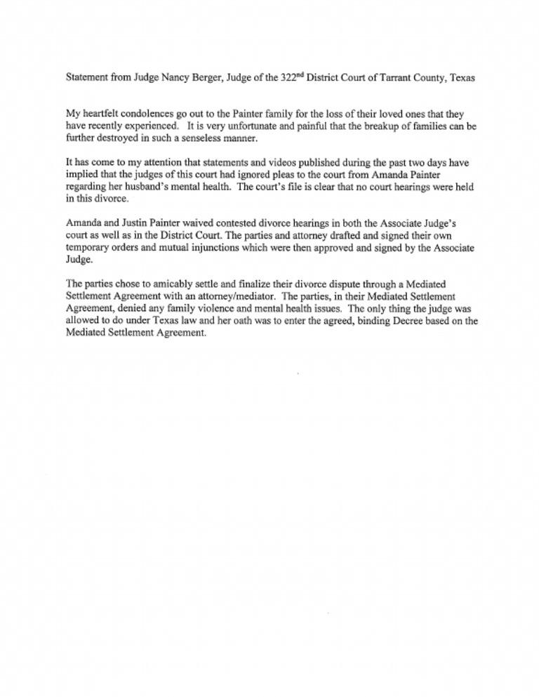 Statement From Judge Nancy Burger