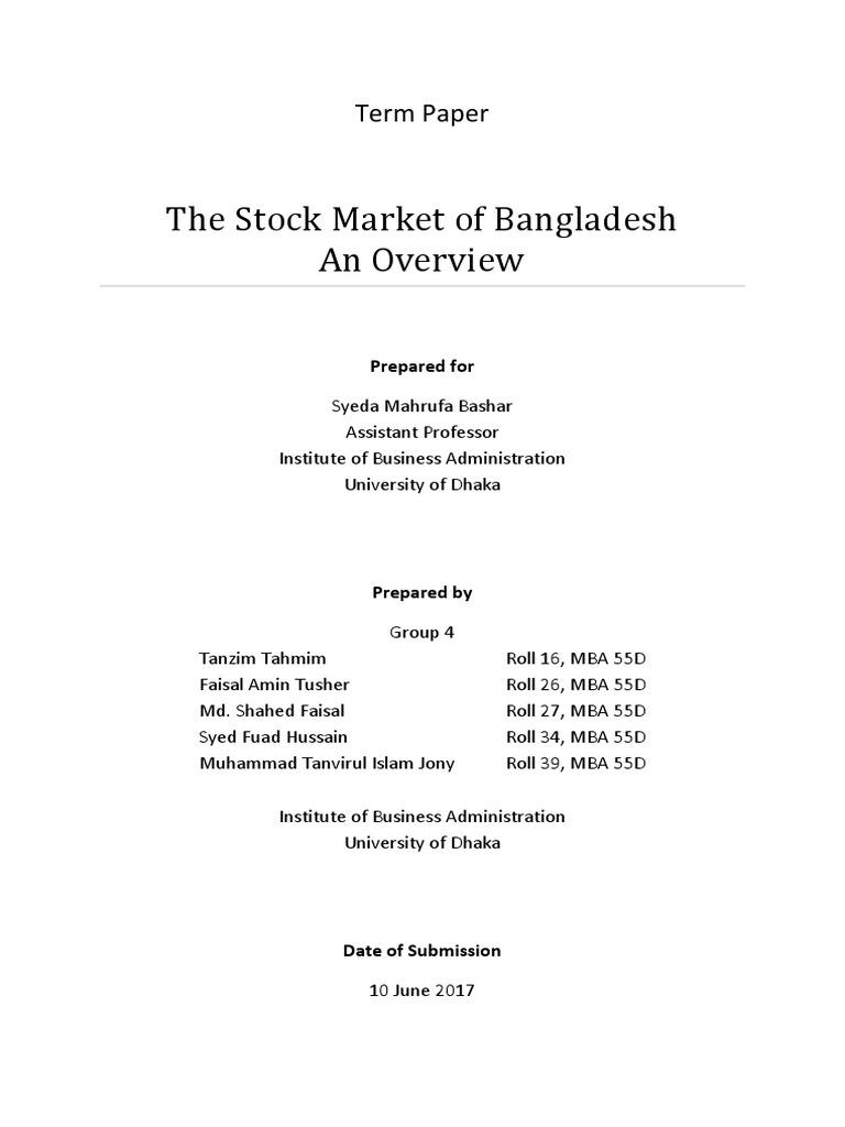 term paper on dhaka stock exchange