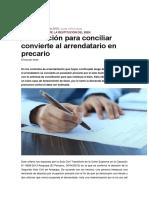 Notificación Para Conciliar Convierte Al Arrendatario en Precario
