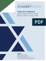 Yom Tov Shavuot, May 20 & 21, 2018