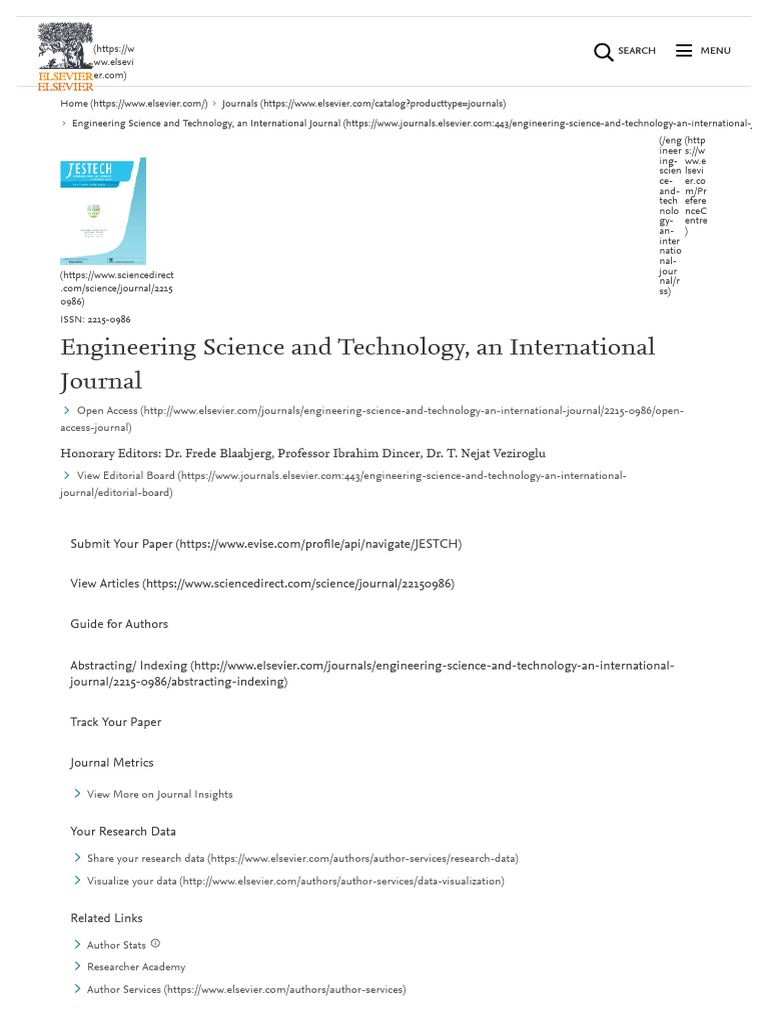 Engineering Science and Technology, An International Journal