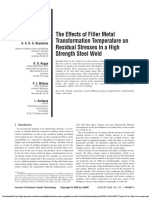 The Effects of Filler Metal Transformation Temperature on Residual Stresses in a High Strength Steel Weld