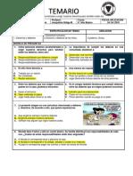 Modelo Temario lenguaje 6°, respuestas. Historia