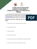 Ficha de Datos Para La Acogida de Peregrinos Jmj