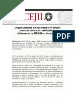Organizaciones de sociedad civil exigen cese a la detención arbitraria de defensores de DD