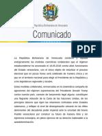 Comunicado de la Cancillería de Venezuela ante sanciones de EEUU