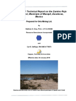 Camino Rojo Project Zacatecas Mexico Orla Mining Ltd M Gray C Defilippi 43-101report 2018Jan24.28124455