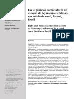 Cassia, II - 2007 - Luz e Galinhas Como Fatores de Atração de Nyssomyia Whitmani Em Ambiente Rural , Paraná , Brasil Light and Hens as A