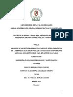 Análisis de La Gestión Administrativa en El Área Financiera de La Empresa Eléctrica Pública Estratégica Corporación Nacional de Electricidad Cnel Ep-matriz Guayaquil
