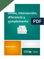 Unión, Intersección, Diferencia y Complemento de Un Conjunto
