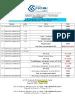 Cronograma Orçamento Estrutura e Custo de Capital 2018.1