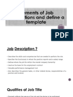 Elements of Job Descriptions and Define a Template