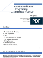 Optimization and Linear Programing-LingoFundamentals