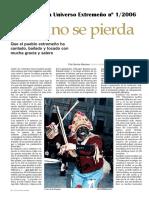 Que no se pierda. Artículo sobre el folklore extremeño de Pilar Barrios publicado en Revista Universo Extremeño nº 1/2006