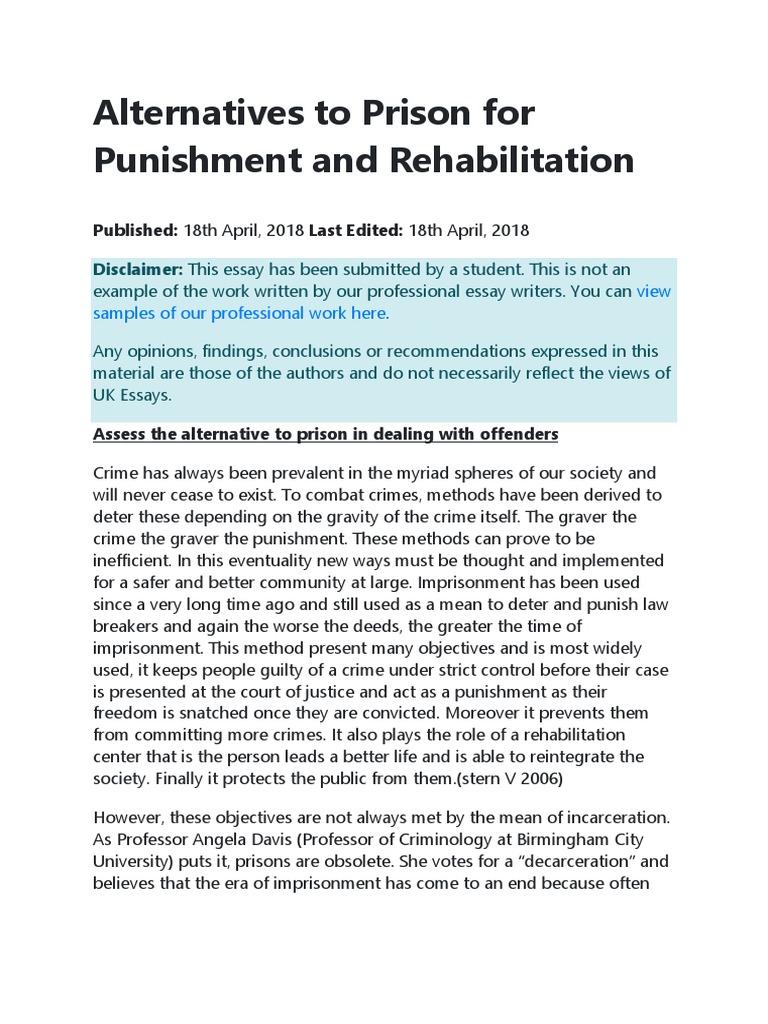rehabilitate or punish essay
