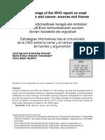 Estrategias Informativas Tras El Comunicado de La OMS Sobre La Carne y El Cáncer Selección de Fuentes y Argumentos