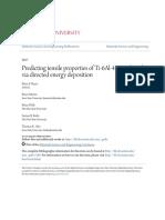 Predicting Tensile Properties of Ti-6Al-4V Produced via Directed