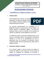 Especificaciones de Reservorio