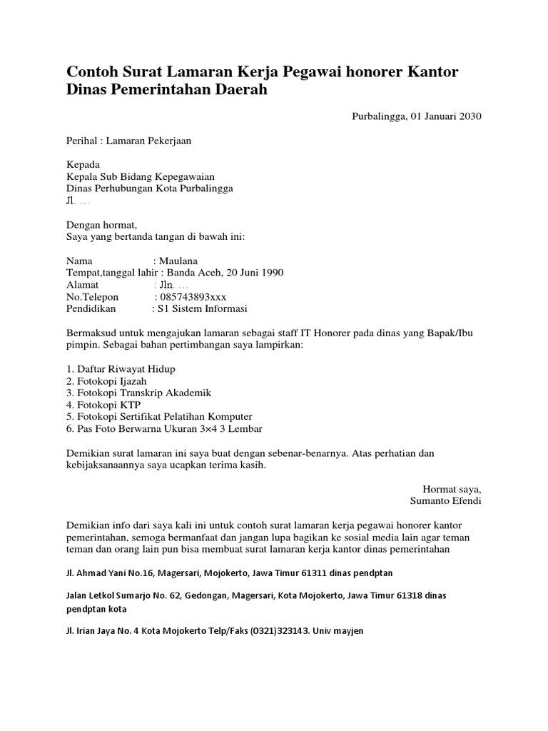 Contoh Surat Lamaran Kerja Pegawai Honorer Kantor Dinas Pemerintahan