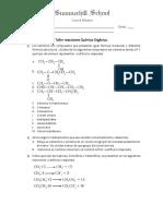 Taller Reacciones Química Orgánica