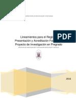 Normativa para Investigación de requisito 2016