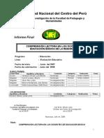 Informe Final Comprensión Lectora en Docentes(2008)