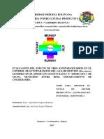EVALUACIÓN DEL EFECTO DE TRES ANTIPARASITARIOS EN EL CONTROL DE ECTOPARÁSITOS DEL GANADO BOVINO (Bos taurus) LECHERO EN EL SINDICATO MANCO KAPAC Y  SINDICATO 1 DE MAYO, MUNICIPIO ENTRE RIOS, DEPARTAMENTO DE COCHABAMBA