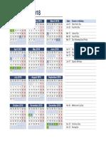 2018 Victoria Holiday Calendar