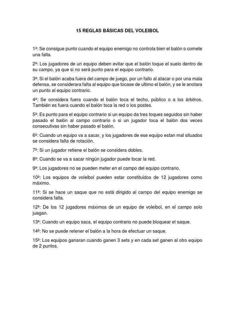 Las 15 reglas del voleibol