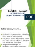 EMGT101 LEC9 Operations Management