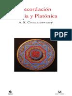 Coomaraswamy Recordacion India y Platonica