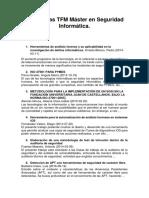 Propuestas TFM Máster en Seguridad Informática