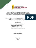 Conocimiento y Aplicación de La Mecánica Corporal de La Enfermera en Centro Quirúrgico de Un Hospital de Lima, Agosto 2016 - Marzo 2017