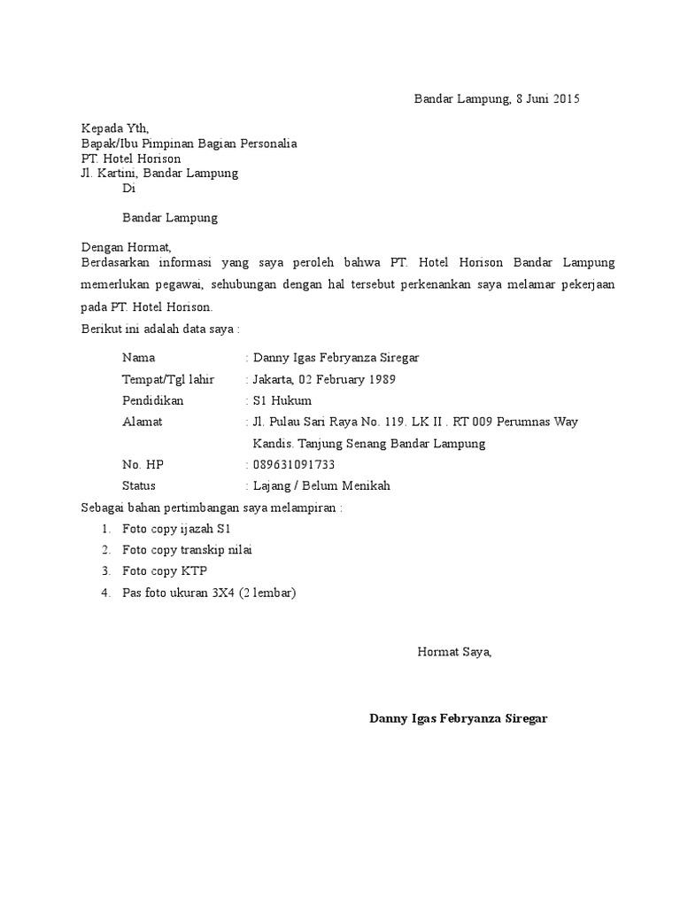 76 Contoh Surat Lamaran Kerja Di Hotel Horison