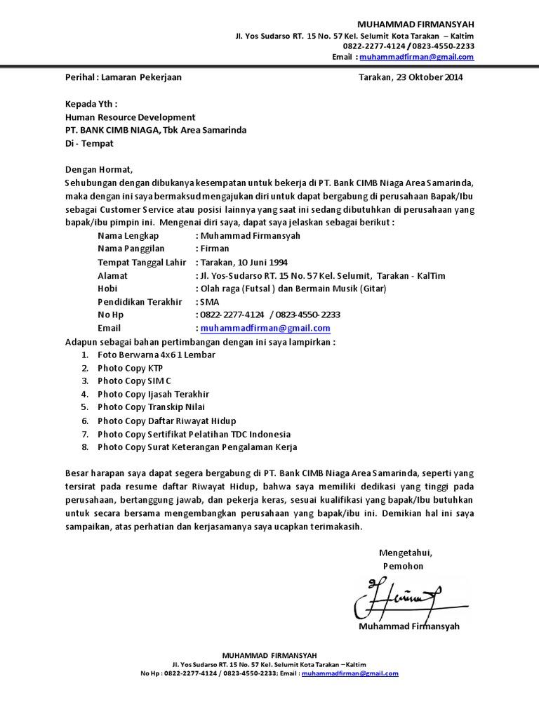 Contoh Surat Lamaran Kerja Dan Daftar Riwayat Hidup