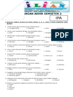 Soal UAS IPA Kelas 3 SD Semester 2 Dilengkapi Kunci Jawaban